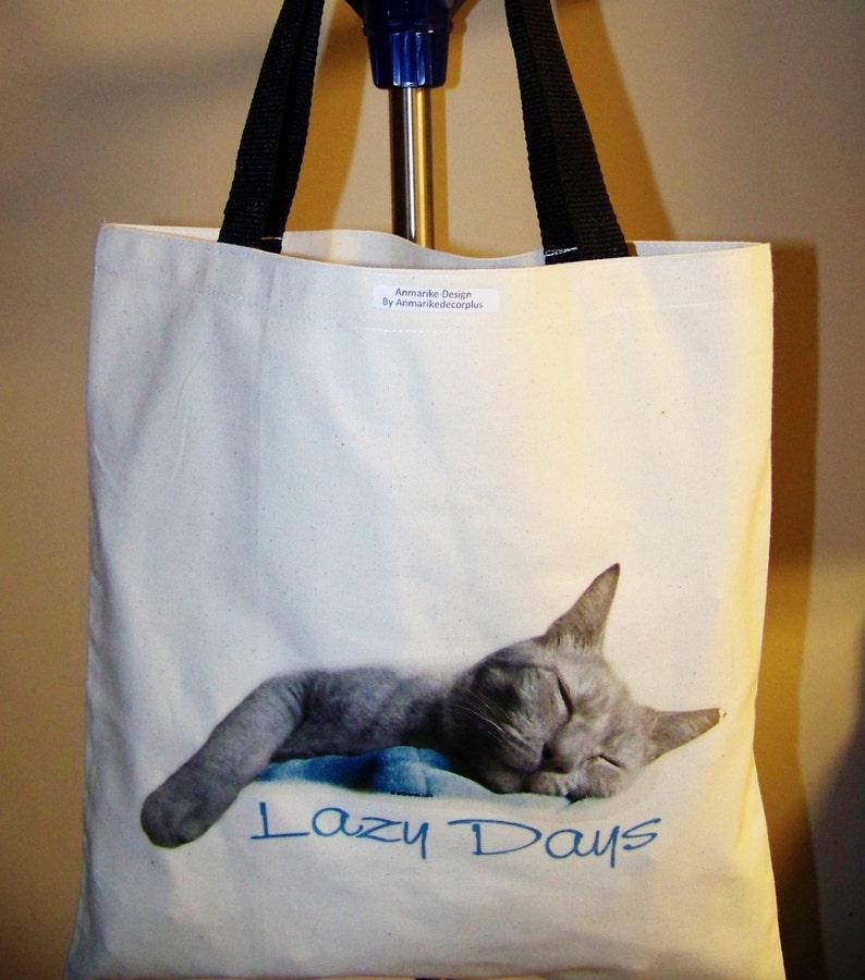 beautiful Cat great gift idea. tote bag I LOVE My Cat Natural color CAT TOTES beautiful Tote bag Lazy days Cat design
