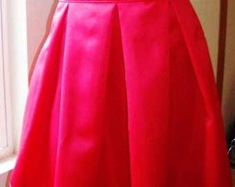 FIT AND FLARE Red And Black ColorBlock Box Pleat Skirt with Zipper at side. Great for all occasions, great gift idea.
