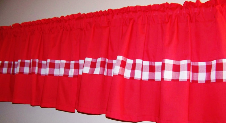 Red Valance,Kitchen Window Curtain bedroom curtain Great gift idea GINGHAM COLOR BLOCK Valance Bathroom curtain anywhere you want
