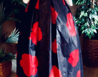Sale..Was 79.99  Now 65.00 SUPER WAXED LONG Maxi Skirt, This is a beautiful waxed  African print skirt. Red and black Skirt, long skirt.