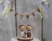 Peg Doll wedding cake topper with dog, bride and groom cake topper, wedding, Wedding cake topper, Kokeshi wedding cake topper, Mr & Mrs