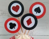 Poker Cupcake Toppers, Casino Cupcake Toppers, Casino Theme cupcake Toppers, Black & Red, Games night cake picks, Vegas Wedding toppers