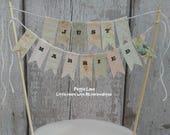 Just Married Wedding Cake Topper, Vintage Wedding, Wedding Decor, Pink Natural Beige bunting, cake banner, cake bunting, Wedding Cake Topper