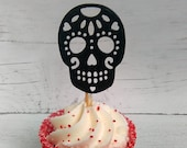Sugar Skull Cupcake Toppers, Day of the Dead Cake Toppers, Dia de los Muertos Cake Topper, Halloween cupcake picks, Skull Toppers