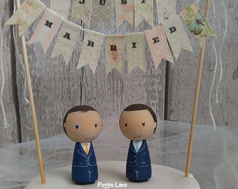 Groom & Groom Cake Toppers, Mr and Mr Cake Topper, Personalised Cake Topper, Gay Wedding, Cake Topper, Civil Partnership, His 'n' His