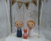 Peg Doll wedding cake topper with cat, bride and groom cake topper, wedding, Wedding cake topper, Kokeshi wedding cake topper