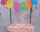 Sugar Skull Cake bunting, Candy Skull bunting, Mexican Party cake topper, Cake Topper, Wedding Cake Topper, Fiesta Party cake bunting topper