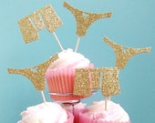 Hen Party Cupcake Toppers, Engagement Party cupcake toppers, Stag Party toppers, Bridal shower Toppers, Gold Glitter Lingerie cupcake Topper