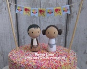 Personalised Hans & Leia inspired Peg Doll wedding cake topper, bride and groom cake topper, geek wedding, Sci-fi topper