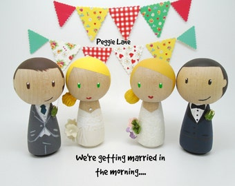 Peg Doll wedding cake topper, bride and groom cake topper, peg doll bride & groom, wedding, bridal