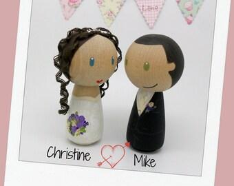 Peg Doll wedding cake topper, bride and groom cake topper, peg doll bride & groom, wedding, Wedding cake topper, Kokeshi wedding cake topper