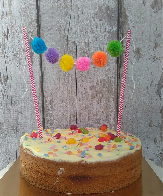Pom Cake Bunting Rainbow Birthday