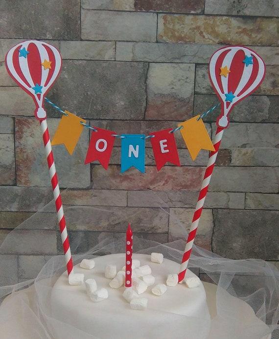 Rainbow Cake Bunting 1st Birthday Topper Hot Air