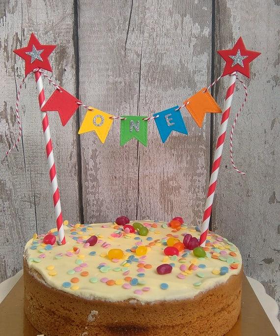 1st Birthday Cake Bunting Rainbow One