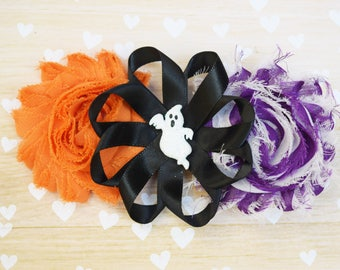 Ghost hair clip, Halloween hair clip, Halloween hair bow, Halloween headpieces, purple black and orange hair clip, girl hair bows, ghost