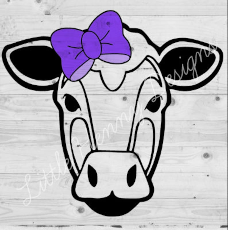 Buy 2 Get 1 Free Cow With Bow Svg Cow Cut File Heifer Etsy