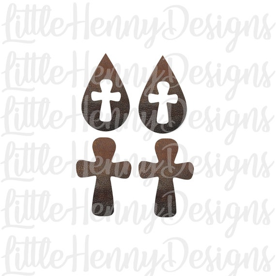 Earring Cut File Cross Earrings Svg Leather Earrings Leaf Etsy