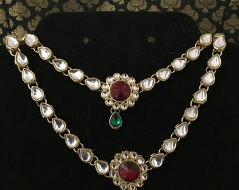 06419d67278 Kundan indian anklets with ruby coloured centre and emerald accent