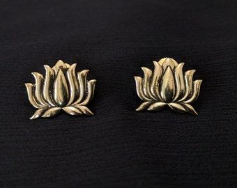 Lotus gold tone stud earrings
