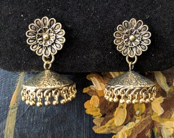 Flower gold tone jhumkas earrings - Indian jewellery