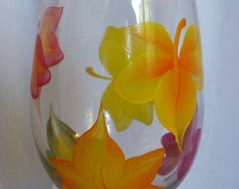 Autumn Falling Leaves Hand Painted Wine Glasses