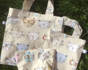 Geeky cats project bag - knitting crochet sewing