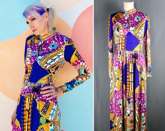 Vintage 1960s Blue and Purple Psychedelic Abstract Bubble Print Maxi Dress with Keyhole Center, Size Small // Medium -- BoHo // Avant Garde