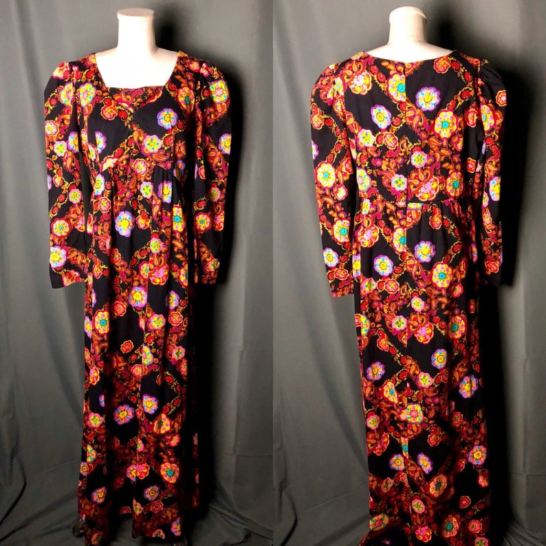 058e6fa077 Vintage 1970s Psychedelic Black Floral and Paisley Maxi Dress