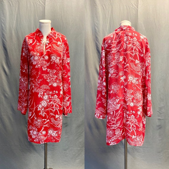 Vintage 1970s Red Hawaiian Floral Tent Dress with