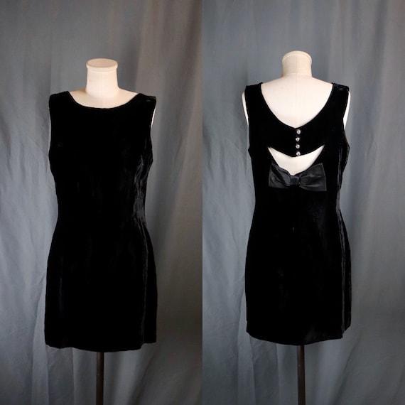 Vintage 1960s Black Silk Velvet Mini Babydoll Dres