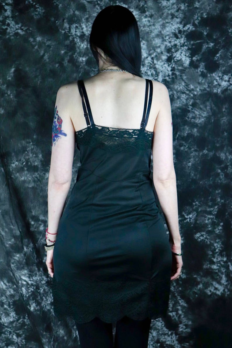 Size Medium Pinup  Burlesque  Glamour  Lingerie Vintage 1960s Black Slip with Lace Top and Bottom