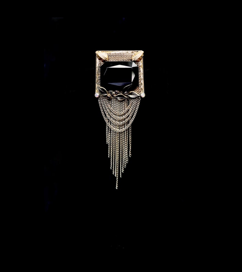 Vintage 1940s Marena 18K Gold Plate Brooch with Onyx Center \u2014 Art Deco  Gatsby  Flapper  Gothic