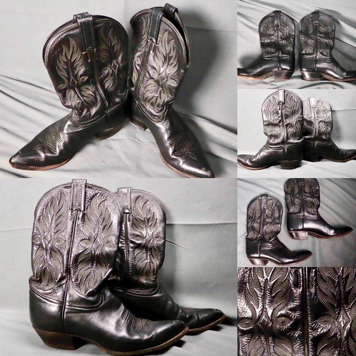 Vintage 1970s Tony Lama negro negro negro Cowboy    Western cuero Mid-Calf  botas  -- tamaño 7.5 M (7.5  hombres     9 Mujer) eeda66