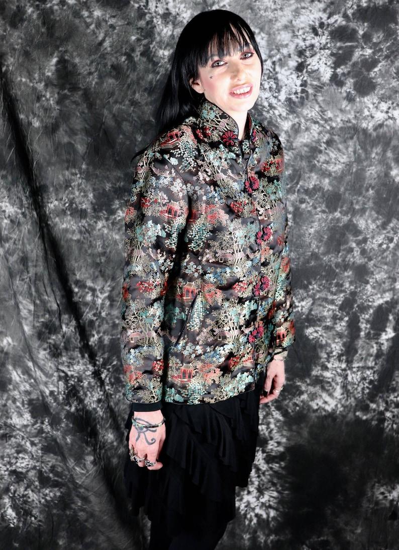 Chinoiserie  Asian  Boho Vintage Black Satin Brocade Floral Chinese Jacket Size Medium