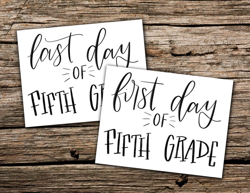 First and Last day of fifth grade printable photo sign | Etsy