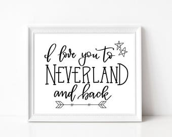 I Love You To Neverland And Back printable wall art - instant download