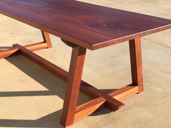 Modern Sapele Wood Dining Table (Mahogany) (Trestle) (Farmhouse)