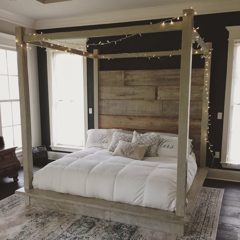 Canopy Bed.Reclaimed Wood Canopy Bed White