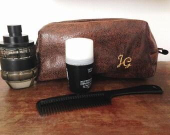 dea-concept toiletry bag for men – imitation brown vegan leather – vintage style - 22x10x8cm - handmade