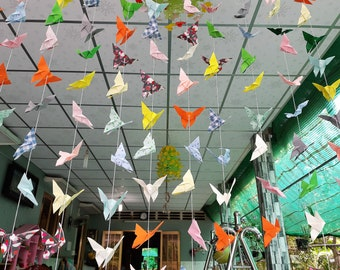 180 Paper Butterfly Garland, 15 strands, set of 12, Multi-Color (4 x 4 inches paper size), Wedding Decoration, only for USD 40.00
