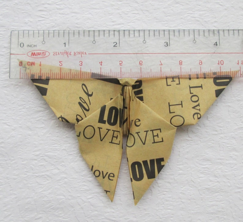 Vintage Love Wording Design 12.5 x 12.5 cm 5  x 5 inches Black Color only for 20.00 USD 200 Paper Origami Butterflies