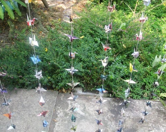 500 Paper Cranes Garland, 25 strands made out of recycle paper, set of 20, 4 x 4 inches paper size, Wedding Decoration, only for USD 55.00