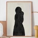 Abstract Woman Printable Art, Beige Black Drawing, Modern Wall Decor, Minimalist Art, Scandinavian Poster, Female Line Art, SHE BELIEVES
