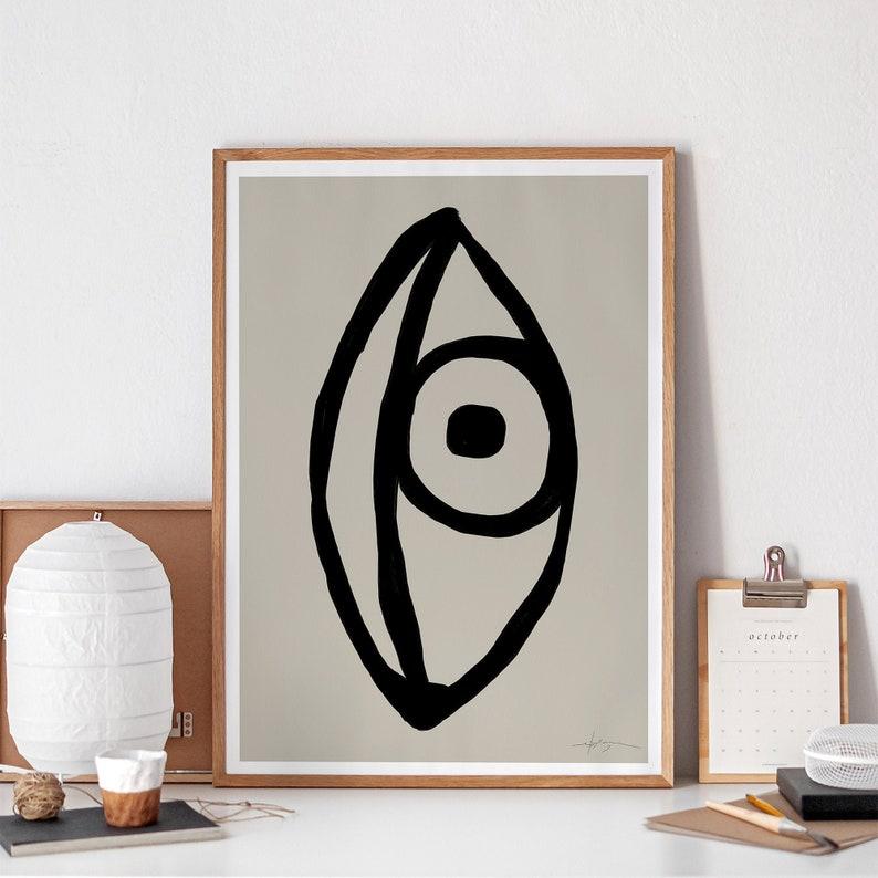 Abstract Eye Printable Drawing Black Beige Line Art Print image 0