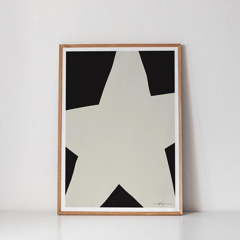 Modern Christmas Star Printable Art Minimalist Holiday Art image 0