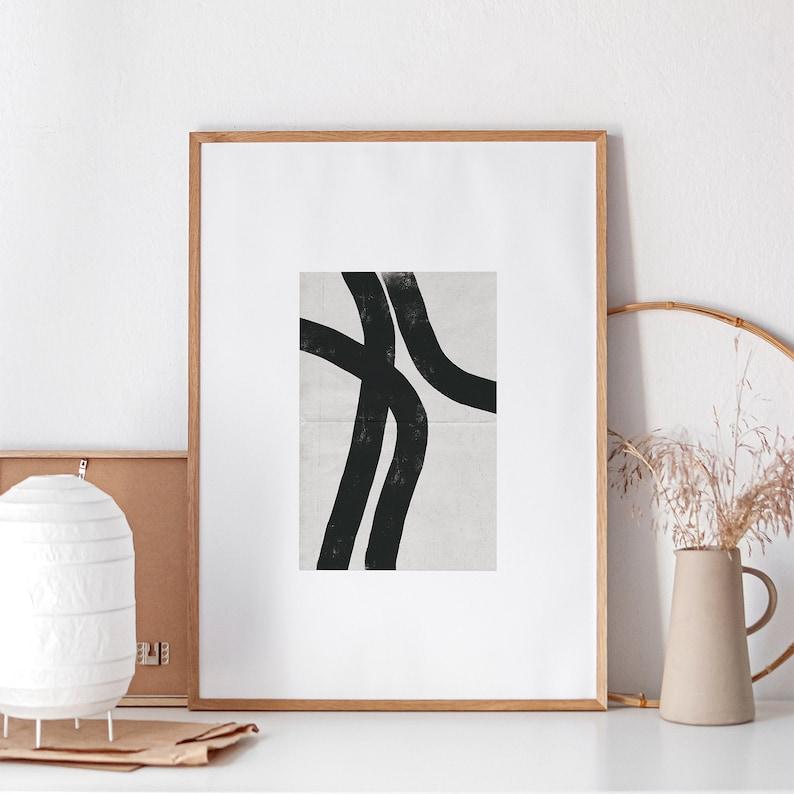 Abstract Line Drawing Giclee Art Print Black Gray Art Print image 0