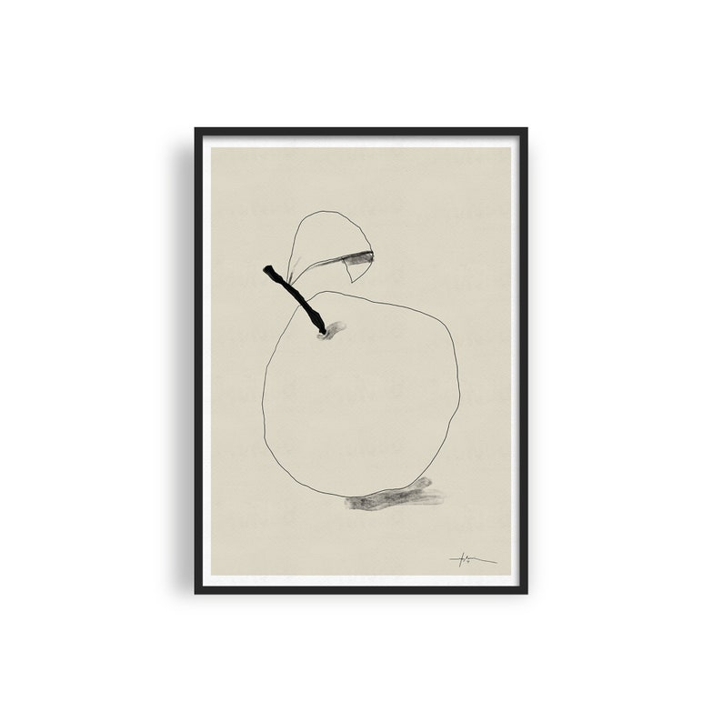 Modern Fruit Printable Art Pear Line Art Minimalist Kitchen image 0