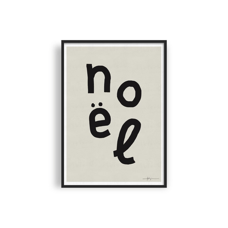 Modern Noel Printable Art Minimalist Christmas Art Print image 0