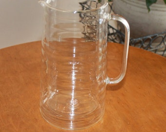 Vintage Double Wall Ribbed Clear Glass Pitcher