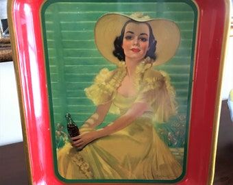 Drink Coca Cola Advertising Tray1938 The Coca Cola Company American Art Works Inc Coshocton OhioWoman in Yellow Dress